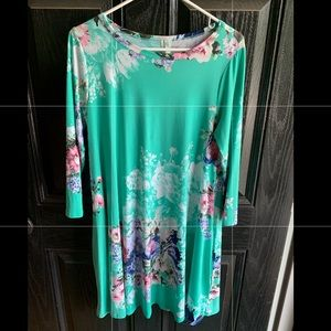 Bellamie mint floral swing dress. Size medium